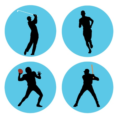 Sports athlete silhouettes in blue circles.
