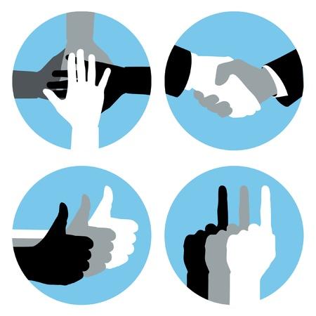 manos logo: Símbolos de negocios de la mano en círculos azules.