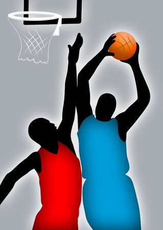 sports jersey: Abstract of two men playing basketball.