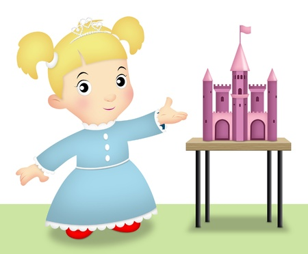 ponytails: Girl playing as princess and showing her toy castle. Stock Photo
