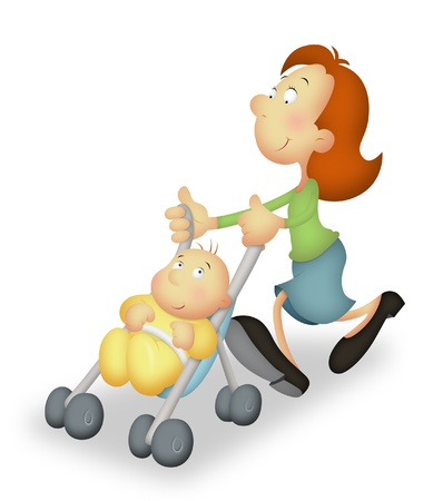 take care: Mother with baby on stroller taking a walk. Stock Photo