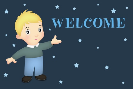Little boy in welcoming pose with WELCOME word.