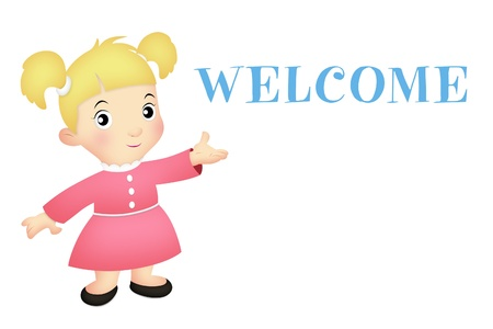 warm welcome: Little girl in welcoming pose with WELCOME word.