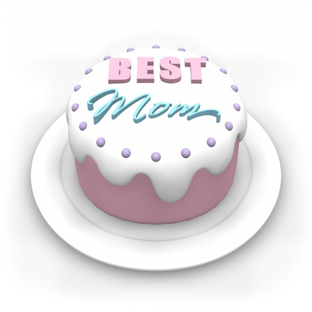 3D pastel colored cake for Mothers Day. Standard-Bild