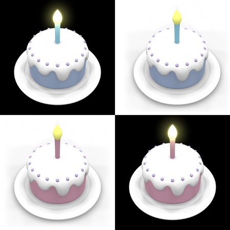 3D model of blue and pink birthday cakes in black and white background.