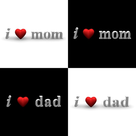 3D texts of i heart mom and i heart dad in black and white background. photo
