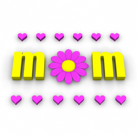 fuschia: 3D mom text with pink flower and hearts. Stock Photo