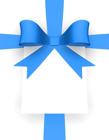 Blue ribbon and card with space for text.