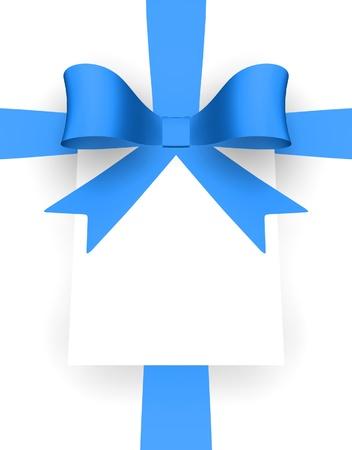 La cinta azul y la tarjeta con espacio para texto. Foto de archivo