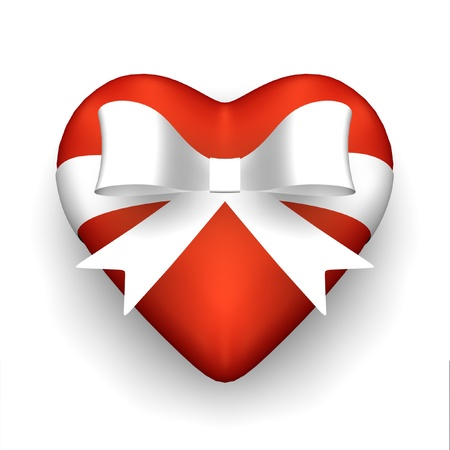Red heart with white ribbon.
