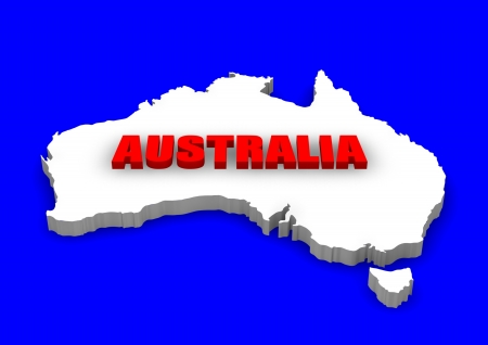 3D model of Australia continent with name.