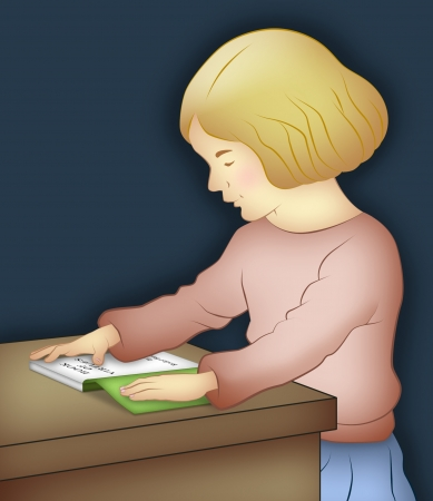 Girl sitting reading a book on table. photo