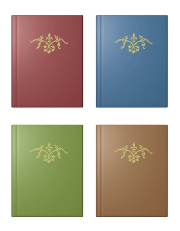 Fancy books in red, blue, green and brown covers. Stock Photo - 13713523