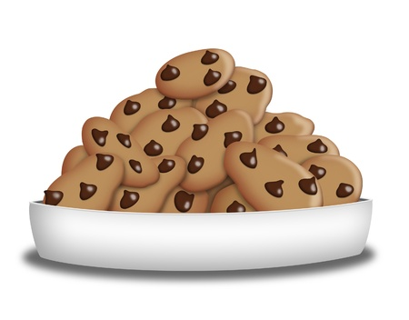 Plate full of chocolate chip cookies.