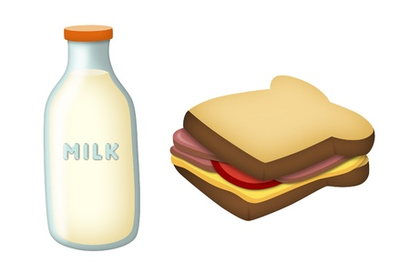 lunch break: Milk bottle with ham and cheese sandwich. Stock Photo