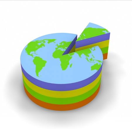 Pie graph with world map and graph slice. photo