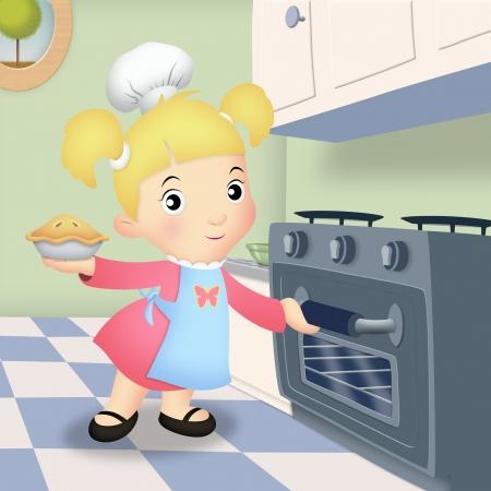 range fruit: Girl in kitchen placing pie in oven  Stock Photo