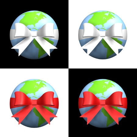 Earth with red and white ribbons in black and white backgrounds