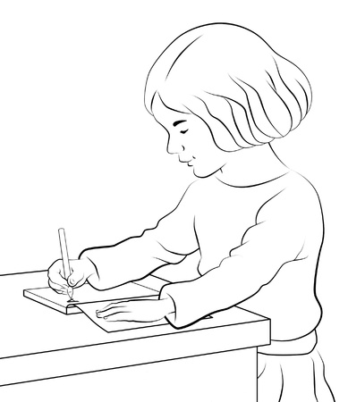 black and white line drawing: Girl sitting writing in her notebook. Stock Photo