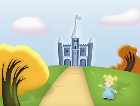 ponytails: Castle on hill with princess in the foreground.