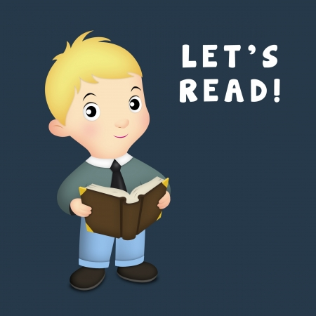 lets: Little boy holding open book. Stock Photo