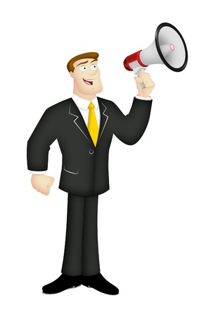 Man in business suit with megaphone.