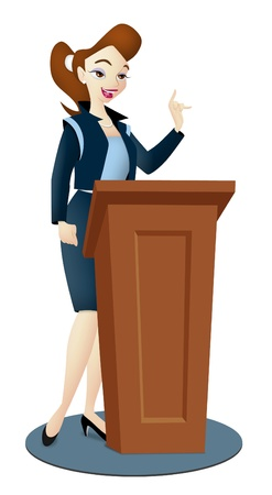 Lady speaker in business suit with podium.