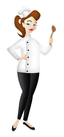 master chef: Cute lady chef holding a spoon. Stock Photo