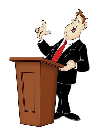 Cartoon speaker in business suit with rostrum. Standard-Bild