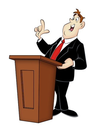 convention: Cartoon speaker in business suit with rostrum. Stock Photo