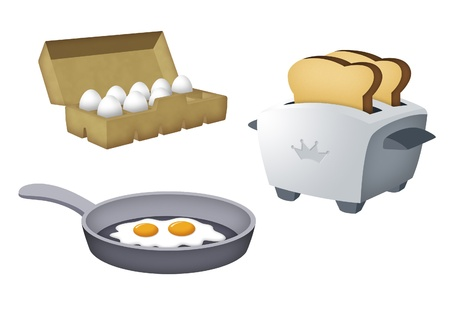 eat cartoon: Toaster with toasts, egg tray and frying pan with eggs.