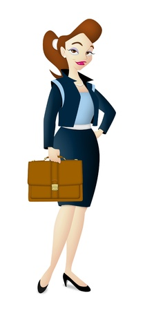 Career woman carrying brown leather bag.