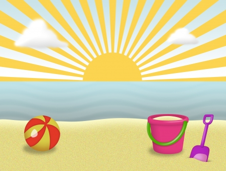 Beach with beach ball, pail and shovel. Stock Photo