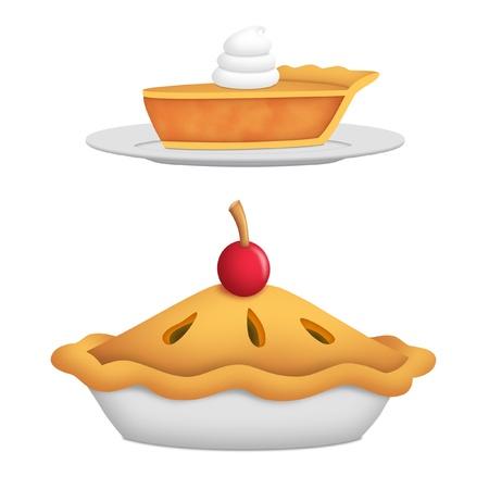 pie de manzana: Todo el pastel con la cereza y la rebanada de pastel.