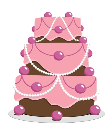 Three-tiered chocolate cake with pink icing  photo