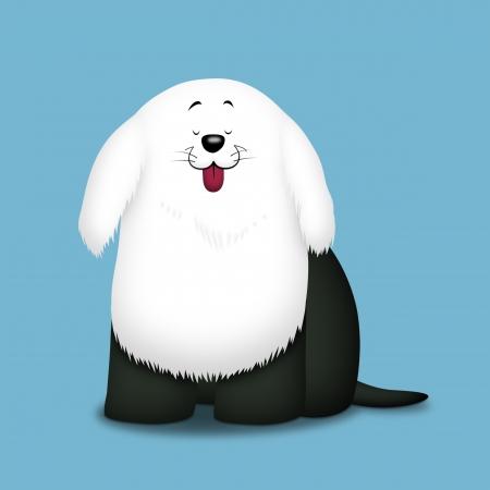 Black and white sheepdog sitting down.