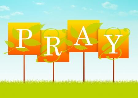 PRAY sign with leaf designs
