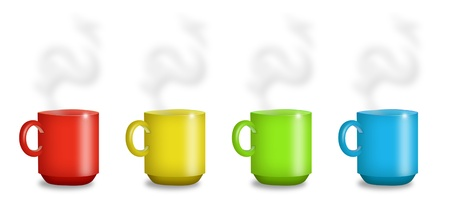 Mugs in red, yellow, green, and blue. Standard-Bild