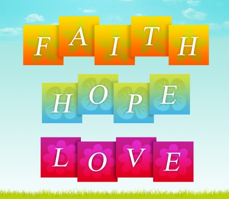 Sign for faith, hope, and love. photo