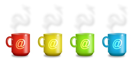 internet cafe: Mugs in red, yellow, green, and blue with @ signs. Stock Photo