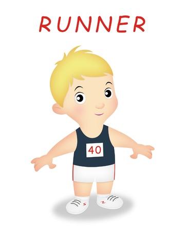 Boy wearing running or marathon outfit. Standard-Bild