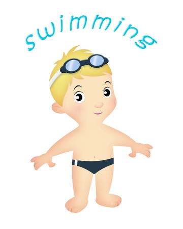Boy swimmer wearing trunks and goggles. photo