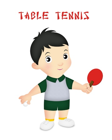 Boy wearing table tennis player outfit with paddle.
