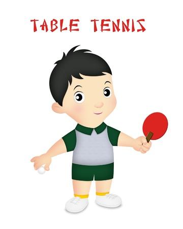 tischtennis: Boy Tragen Tischtennisspieler Outfit mit Paddel.