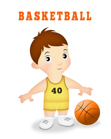 Boy wearing basketball team uniform with ball.