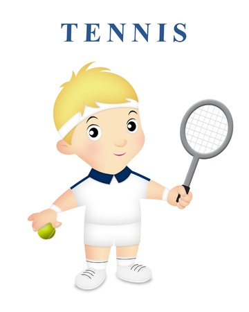 Boy wearing tennis outfit holding tennis racket.
