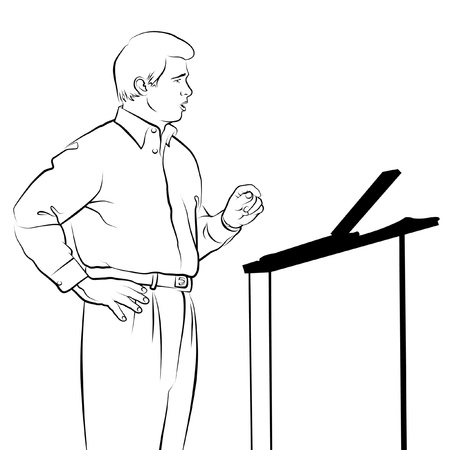 Line drawing of speaker with podium. photo