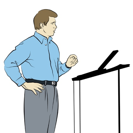 talk show: Line drawing of speaker with podium. Stock Photo