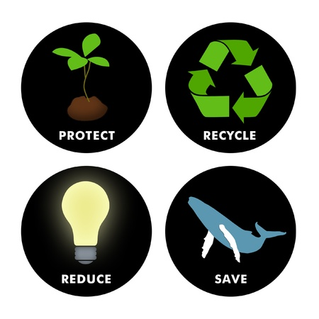 Environmental symbols for Protect, Recycle, Reduce and Save. photo