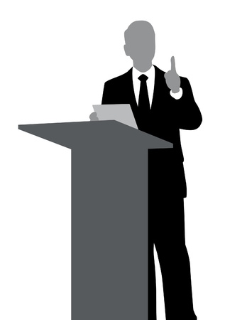 orator: Abstract of speaker with podium